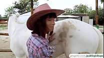 Hot and sexy amateur cowgirl rides cock for cash in an outdoor sex 7 min