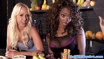 Squirting blondes threeway fun with ebony pal 8 min