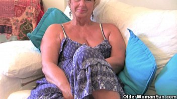 British granny with big tits masturbates with her sex toy collection 6 min
