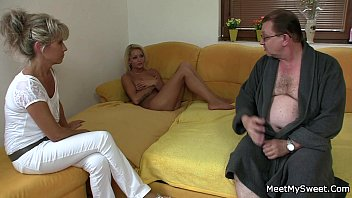 He finds her riding his dad's cock
