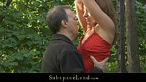 Lora restrained in the woods for being spanked and fucked 5 min