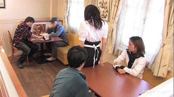 Japanese waitress food gangbang 7 min