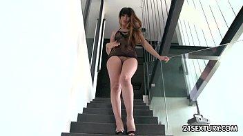 Mona Kim's asshole enjoys some phallic anal attention.