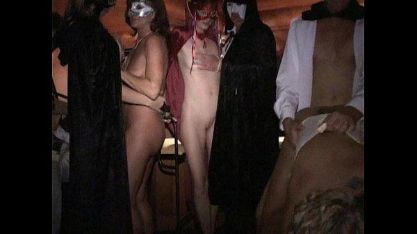 Longest upload Masked leggy MILF fucked hard in group Licks cum off cock 15 min