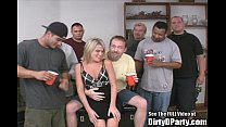 Skinny Blonde Bukkake Fuck Party!