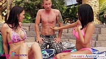 Wives Jennifer Dark and Luna Star share cock in vacation