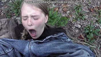Passionate couple porn scenes in the desolate woods