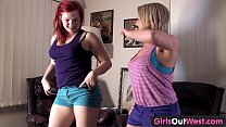 Girls Out West - Buxom hairy and shaved lesbian girls