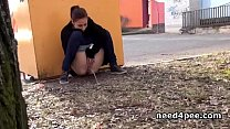 Amateur girl hides behind a wall to take a pee 5 min