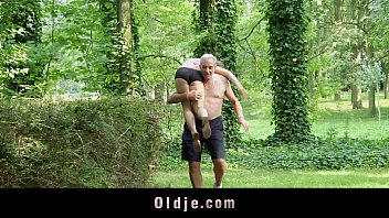 Nagging little bitch gets old cock punishment in the woods