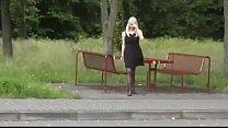 Dogging slut loves to tease in public toliet 6 min