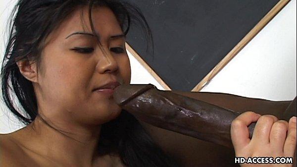 Super hot Asian lady gets a big black cock in her cunt