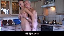 Fetishist brunette licking wrinkled old man 6 min