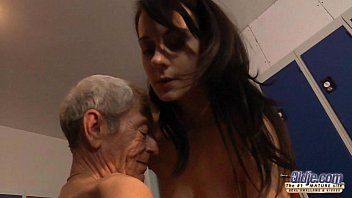 Young girl is so kinky that fucks an old fart in a locker room 6 min