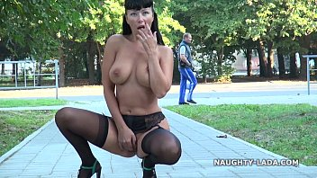 Public flashing and playing in stockings nude-public 2 min