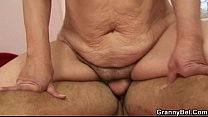 Old blonde enjoys riding his young dick
