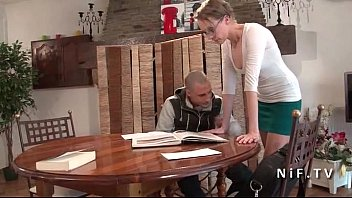 French teacher milf hard sodomized by her student and jizzed on body