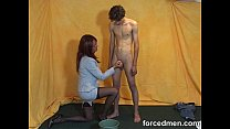 Mistress aims to shoot cum in the bucket
