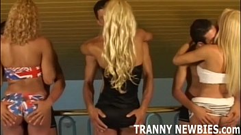 Blonde tranny gets her first hardcore gangbang 12 min