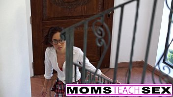 Hot threesome for stepmom and young schoolgirl 15 min