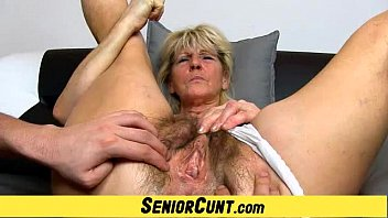 Hairy old pussy close-ups and fingering with grandma Hanna