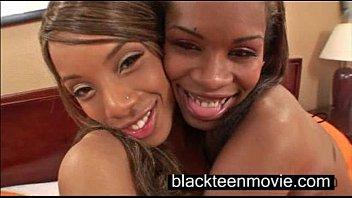 Two black teen cuties in a threesome in Black Ebony Porn Video 3 min