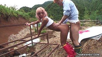 Asian farm slut gets to be fucked from the back hard