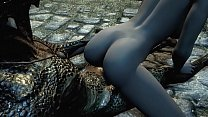 Argonian gets laid with a lonely young woman 7 min