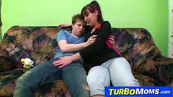 Hirsute housewife Karin sex with a teen boy 6 min