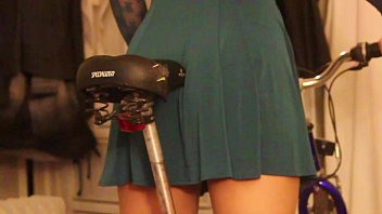 Step daughter learning to ride bike grinds in panties