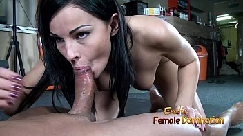 Dark haired femdom gives her slave a blowjob after ballbustin 18 min
