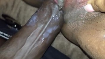 shoving my dick in and out of her mature black pussy