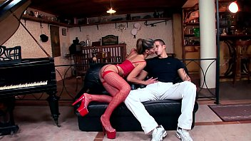 Tommy fucking in red fishnet nylon and a garter 12 min