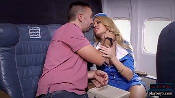 Big tits blonde stewardess joins the mile high club 6 min