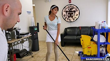 BANGBROS - The new cleaning lady swallows a load!