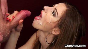 Wacky looker gets cum shot on her face gulping all the cum
