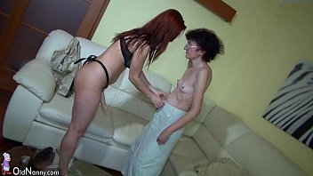 Oldnanny granny and sexy teen enjoy lesbian play