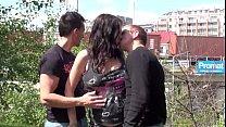 Pregnant Stella Fox public threesome gangbang 16 min