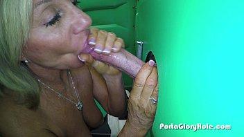 Porta Gloryhole Mature lady sucks cock in porta potty GH