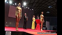 Hot girls pose nude at strip show 5 min