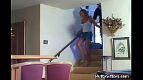 Babysitter getting seduced by couple 5 min