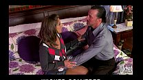 Horny young slutty brunette babysitter convinces husband to cheat 5 min