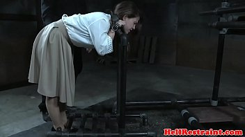 Restrained sub getting her nipples punished 6 min