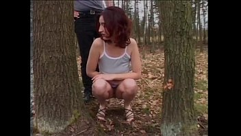 Beautiful and busty brunette buggered in the wood 21 min