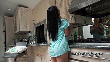 Petite Asian without panties banging in kitchen 7 min