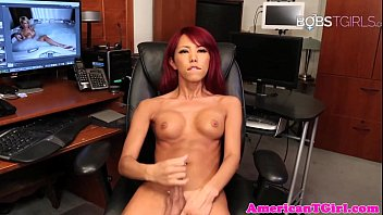 Gorgeous ladyboy pleasures herself with wank