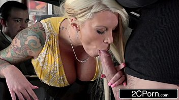 With Her Husband Watching Bitchy Wife l. Ink Sucks and Fucks Burglar's Cock