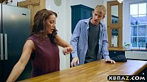 Busty m. in law seduces the husband in the kitchen 6 min