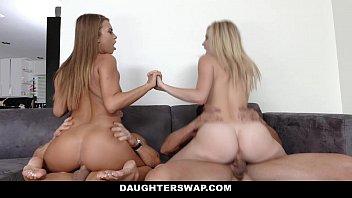 DaughterSwap - Hot Lesbian Teens (Arya Faye) (Jill Kassidy) Fucked By Dads