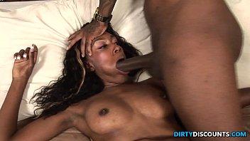 Ebony babe guzzles spunk 34 min